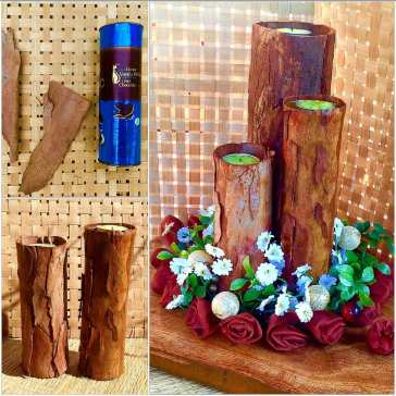 Tree bark candles